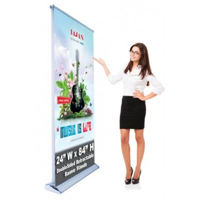 Double Sided Economic Retractable Banner Stand 24 x 80 Stand & Graphic Print